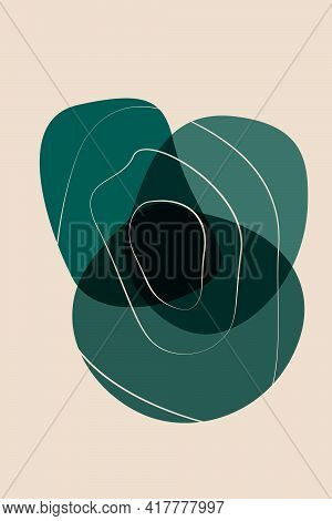 Abstract Blue Green Flowers In Vase Wall Art. Simplicity Of Neutral Color Bontanical Flowers Wall De
