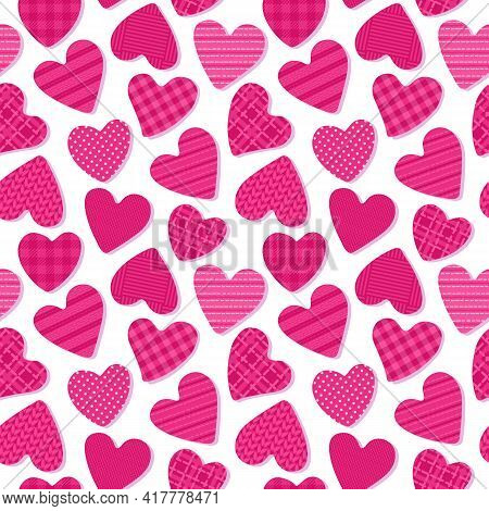 Cute Hearts With The Texture Of Cells, Polka Dots, Fabrics. Seamless Pattern Girly Abstract Surface