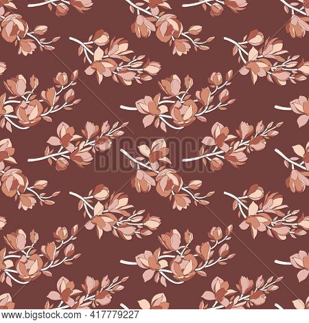 Seamless Pattern With Magnolia Flowers. Trendy Minimalistic Style, Branches With Blooming Buds On Br