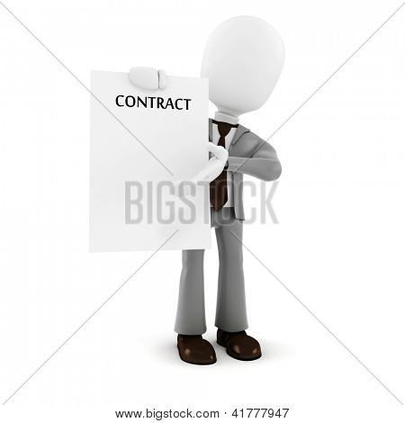 3d man businessman  holding a new contract paper, on white background
