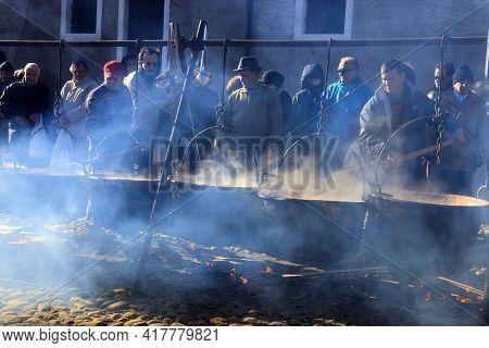 Dulzago (no), Italy - January 29, 2017: The Feast Of The Patron Saint Julius To Badia Di Dulzago, Du