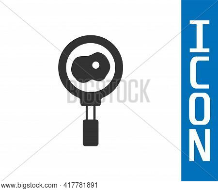 Grey Fried Eggs On Frying Pan Icon Isolated On White Background. Fry Or Roast Food Symbol. Vector