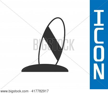 Grey Surfboard Icon Isolated On White Background. Surfing Board. Extreme Sport. Sport Equipment. Vec