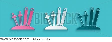 Paper Cut Ski And Sticks Icon Isolated On Blue Background. Extreme Sport. Skiing Equipment. Winter S