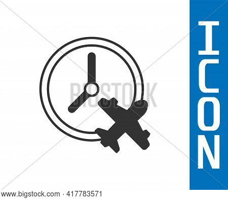 Grey Clock With Airplane Icon Isolated On White Background. Designation Of Time Before Departure, Ch