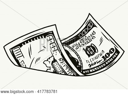 Falling One Hundred Us Dollar Banknote In Vintage Monochrome Style Isolated Vector Illustration