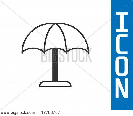 Grey Sun Protective Umbrella For Beach Icon Isolated On White Background. Large Parasol For Outdoor