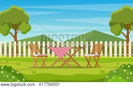 House Backyard With Green Grass Lawn, Trees And Bushes. Cartoon Table And Chairs Garden Modern Furni