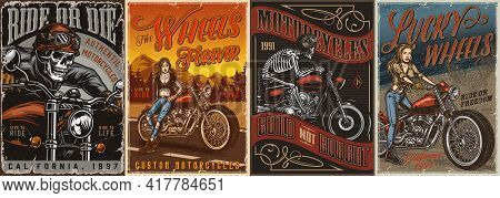 Vintage Motorcycle Colorful Posters With Skeleton Moto Riders In Helmet And Goggles And Beautiful Bi