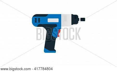 Electric Impact Wrench, Cordless Impact Side View. Power Tools For Home, Construction And Finishing