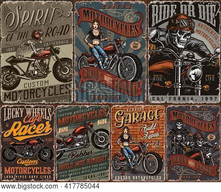 Custom Motorcycle Vintage Posters Collection With Skeleton Motorcyclists Classic Motorbikes And Pret