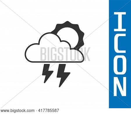Grey Storm Icon Isolated On White Background. Cloud With Lightning And Sun Sign. Weather Icon Of Sto