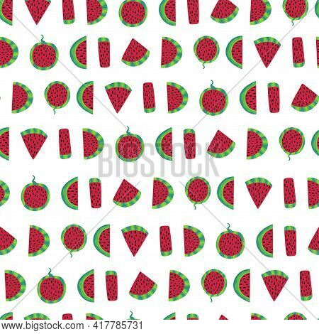 Ripe Watermelon Slices On White Simple Vector Seamless Pattern. Hand-drawn Different Pieces Of Summe