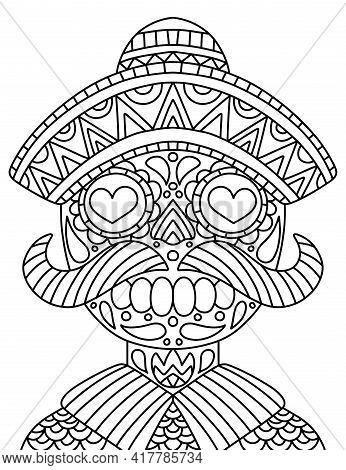 Hand-drawn Skeleton With Mustaches, Hat, And Clothes Coloring Page For Adults Stock Vector Illustrat