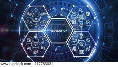 Business, Technology, Internet And Network Concept. Regulation Compliance Rules Law Standard. 3d Ill