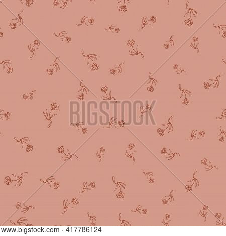 Ditsy Floral Seamless Vector Pattern In Terracota
