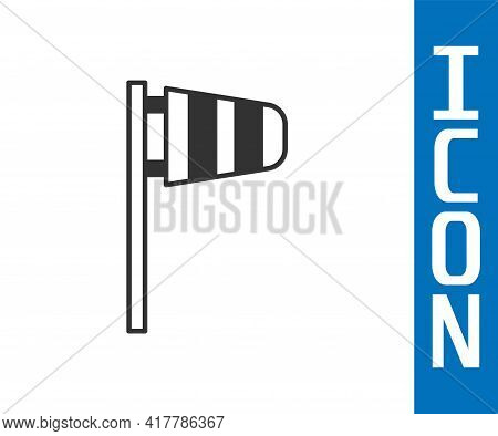 Grey Cone Meteorology Windsock Wind Vane Icon Isolated On White Background. Windsock Indicate The Di