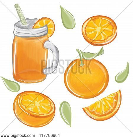 Fresh Orange And Glass With Juice. Citrus Fruits That Are High In Vitamin C. Sour, Helping To Feel F