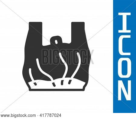 Grey Say No To Plastic Bags Poster Icon Isolated On White Background. Disposable Cellophane And Poly