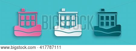 Paper Cut House Flood Icon Isolated On Blue Background. Home Flooding Under Water. Insurance Concept