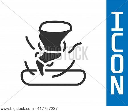 Grey Tornado Icon Isolated On White Background. Cyclone, Whirlwind, Storm Funnel, Hurricane Wind Or
