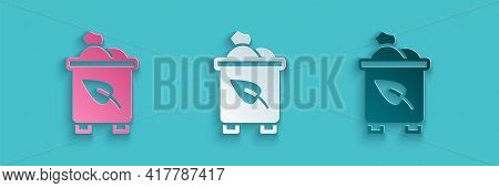 Paper Cut Recycle Bin With Recycle Symbol Icon Isolated On Blue Background. Trash Can Icon. Garbage