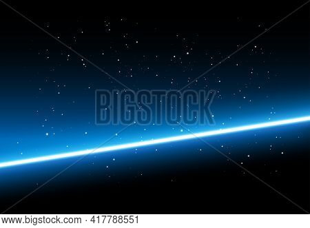 Abstract Space Background - Shining Blue Light On Black Background With Stars - Vector Illustration