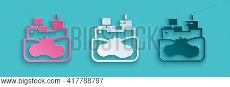 Paper Cut Wrecked Oil Tanker Ship Icon Isolated On Blue Background. Oil Spill Accident. Crash Tanker