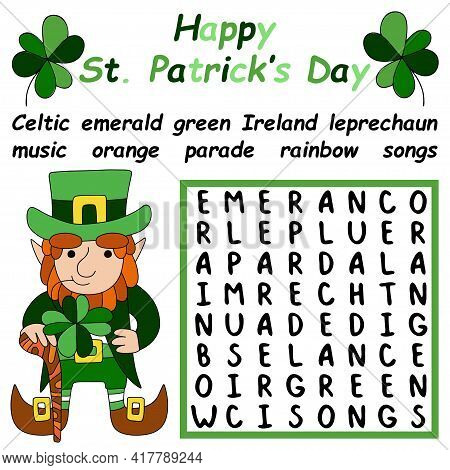 Happy Saint Patrick's Day Word Search Puzzle Stock Vector Illustration. Educational Irish-themed Wor