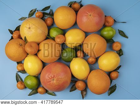 Mixed Citrus Fruit Flat Lay For Background On High Resolutions, Citrus Pattern For Backdrop Or Backg