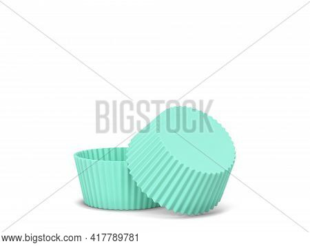 Blank Cupcake Silicon Form. 3d Illustration Isolated On White Background. Bakery Utensil
