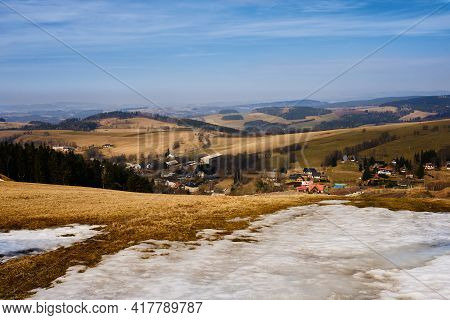 On Way To Bukova Hora From Vyprachtice - View On Village Cenkovice
