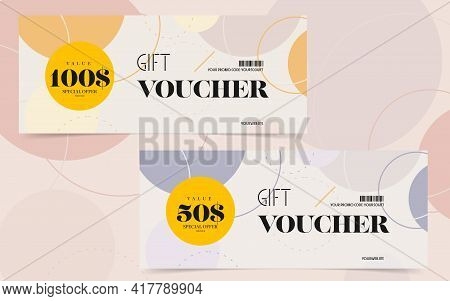 Gift Voucher Template With Special Offer For Online Shopping. Monetary Present Card, Discount Coupon