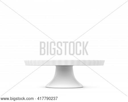 Cake Stand. 3d Illustration Isolated On White Background. Bakery Utensil And Dishware