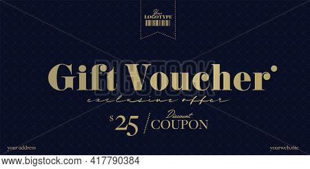 Luxury Gift Voucher Template With Exclusive Discount Offer. Elegant Trendy Layout Design With Moneta