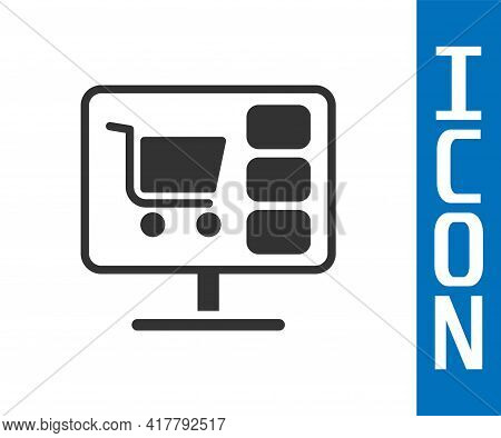 Grey Shopping Cart On Screen Computer Icon Isolated On White Background. Concept E-commerce, E-busin