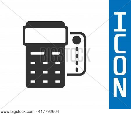 Grey Pos Terminal With Inserted Credit Card And Printed Reciept Icon Isolated On White Background. N