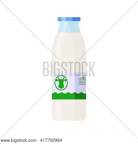 Flat Style Glass Bottle Of Milk Isolated Icon On White Background. Colorful Vector Milk Glass Contai