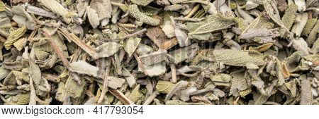 loose leaves of dry sage herb tea, top view of background and texture, panoramic web banner