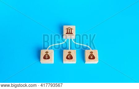 Linked Blocks Bank And Currencies Money Bags. Financial System, National Foreign Exchange Reserve Co