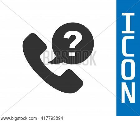 Grey Telephone 24 Hours Support Icon Isolated On White Background. All-day Customer Support Call-cen