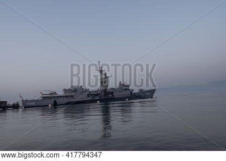 Balcova, Izmir, Turkey - 03.09.2021: Turkish Frigate Called Tcg Ege F-256 And An Attack Submarine Na
