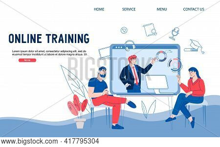 Online Video Training Or Conference Website Banner. Remote Education Or Communication, Cartoon Vecto