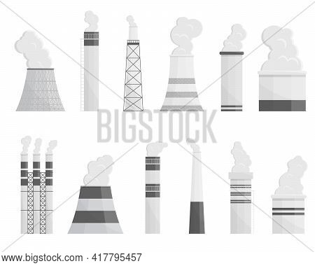 Industry Factory Vector Industrial Chimney Pollution With Smoke In Environment Illustration. Collect