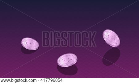 Nft Non Fungible Tokens Banner With Isometric Falling Coins And Copy Space On Dark Red. Pay For Uniq