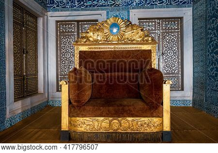 Fatih, Istanbul, Turkey - 04.05.2021: Ornaments Of Turkish Throne Of Ottoman Sultans Displayed In To