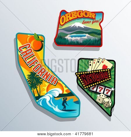 Northwest United states retro stickers