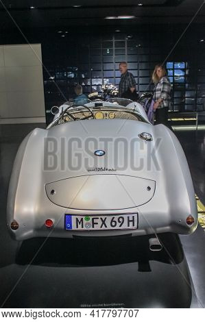 Germany, Munich - April 27, 2011: Bmw 328 Sports Car In The Exhibition Hall Of The Bmw Museum. Rear