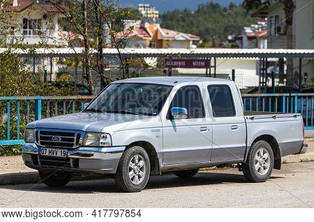 Alanya, Turkey - April 12 2021: Gray Pickup Ford  Ranger  Is Parked  On The Street On A Warm Summer