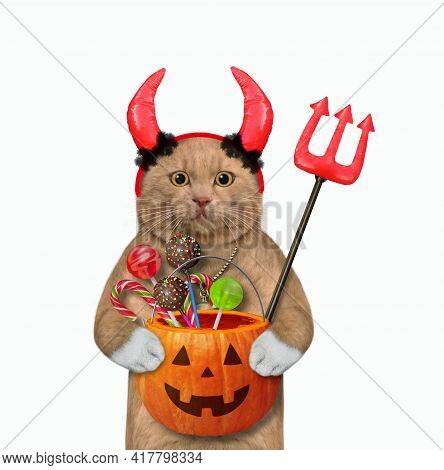 A Reddish Cat In Red Horns Is Holding A Devil Trident And A Pumpkin Pail With Candies For Halloween.
